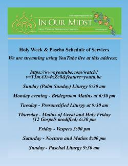 Holy Week and Pascha Livestream Services